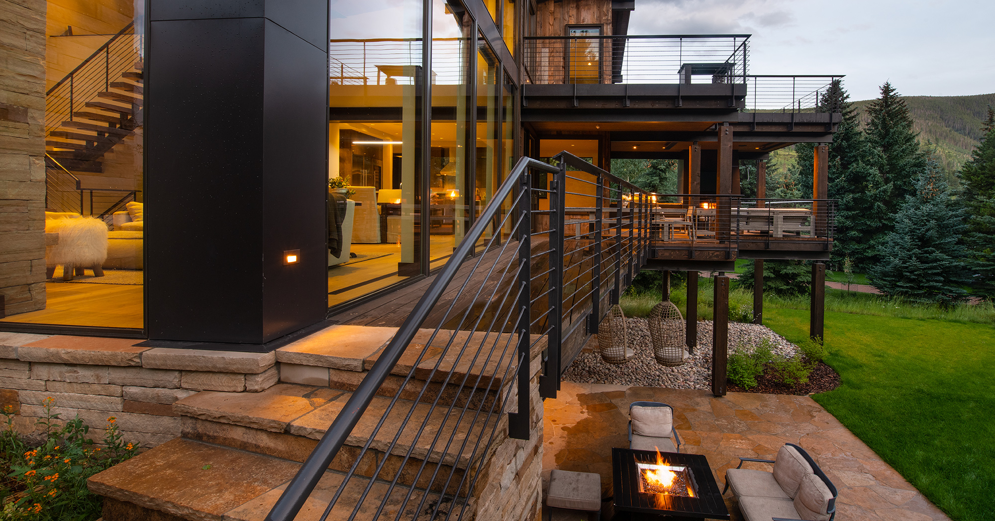 West Vail MountainContemporary Custom Deck Fire Pit