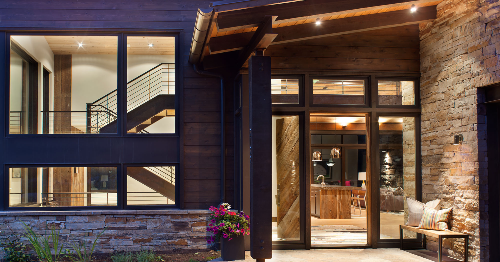 Modern Entry in Alpine setting