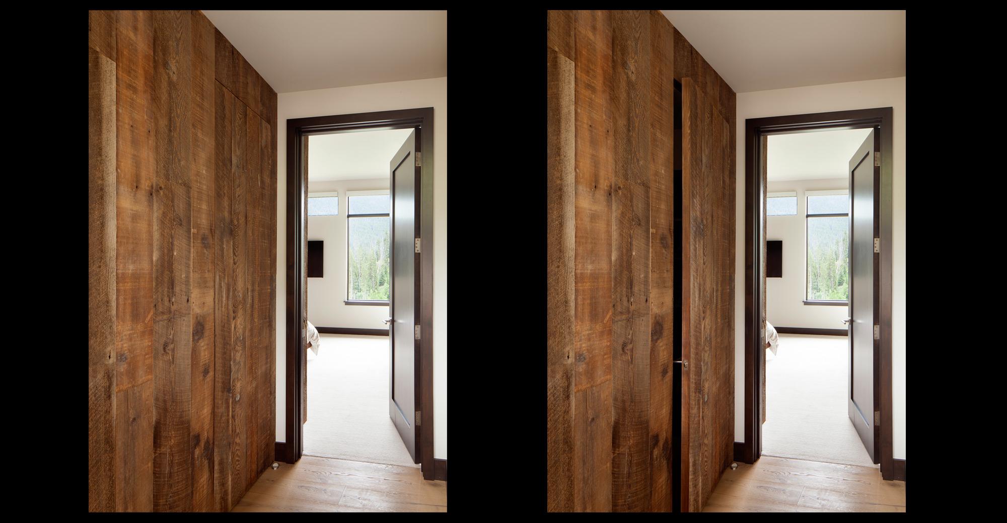 Custom reclaimed wood hidden door