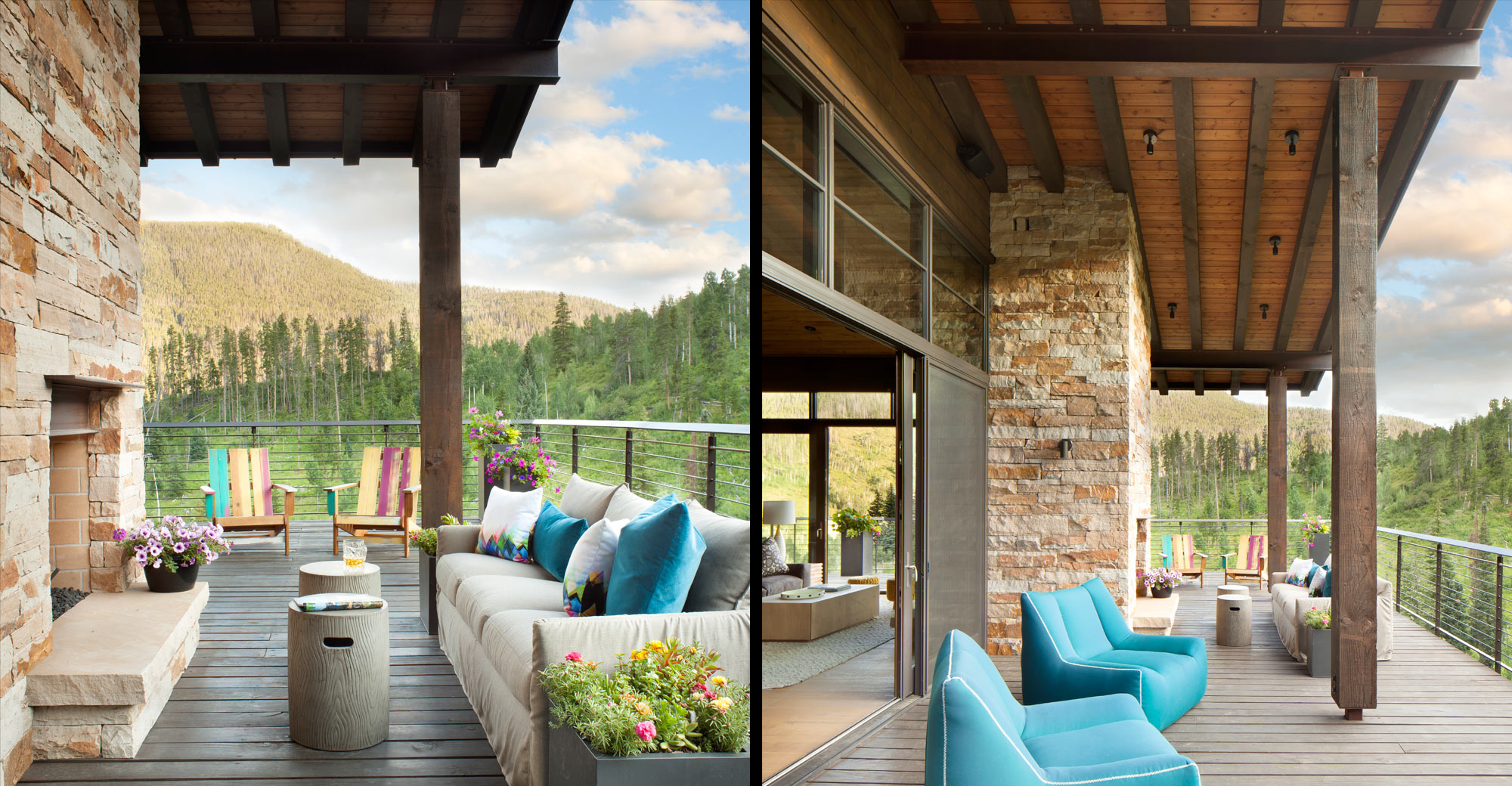 Vail Outdoor fireplace with Mountain Views