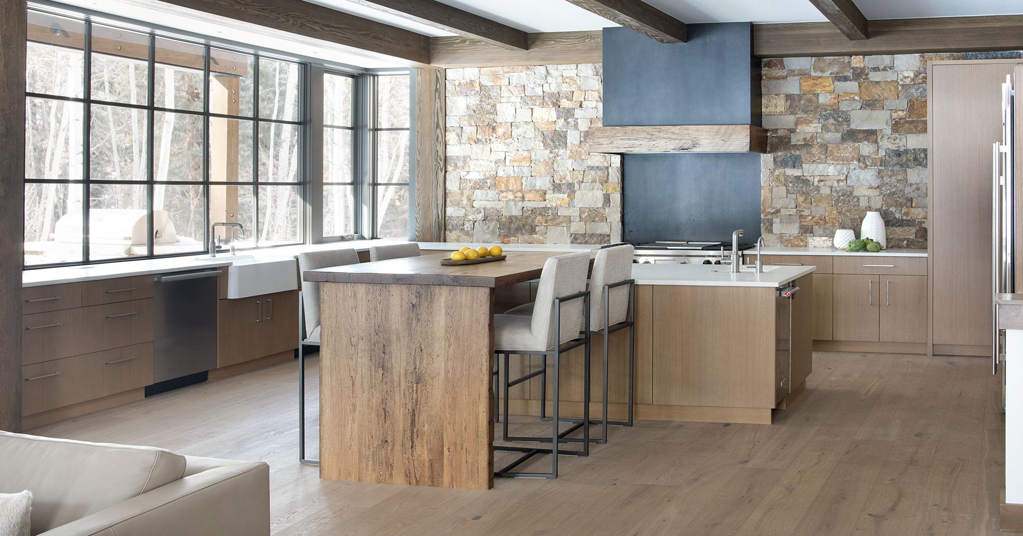 Steel Beam and Custom Stone Kitchen Lake Creek Colorado