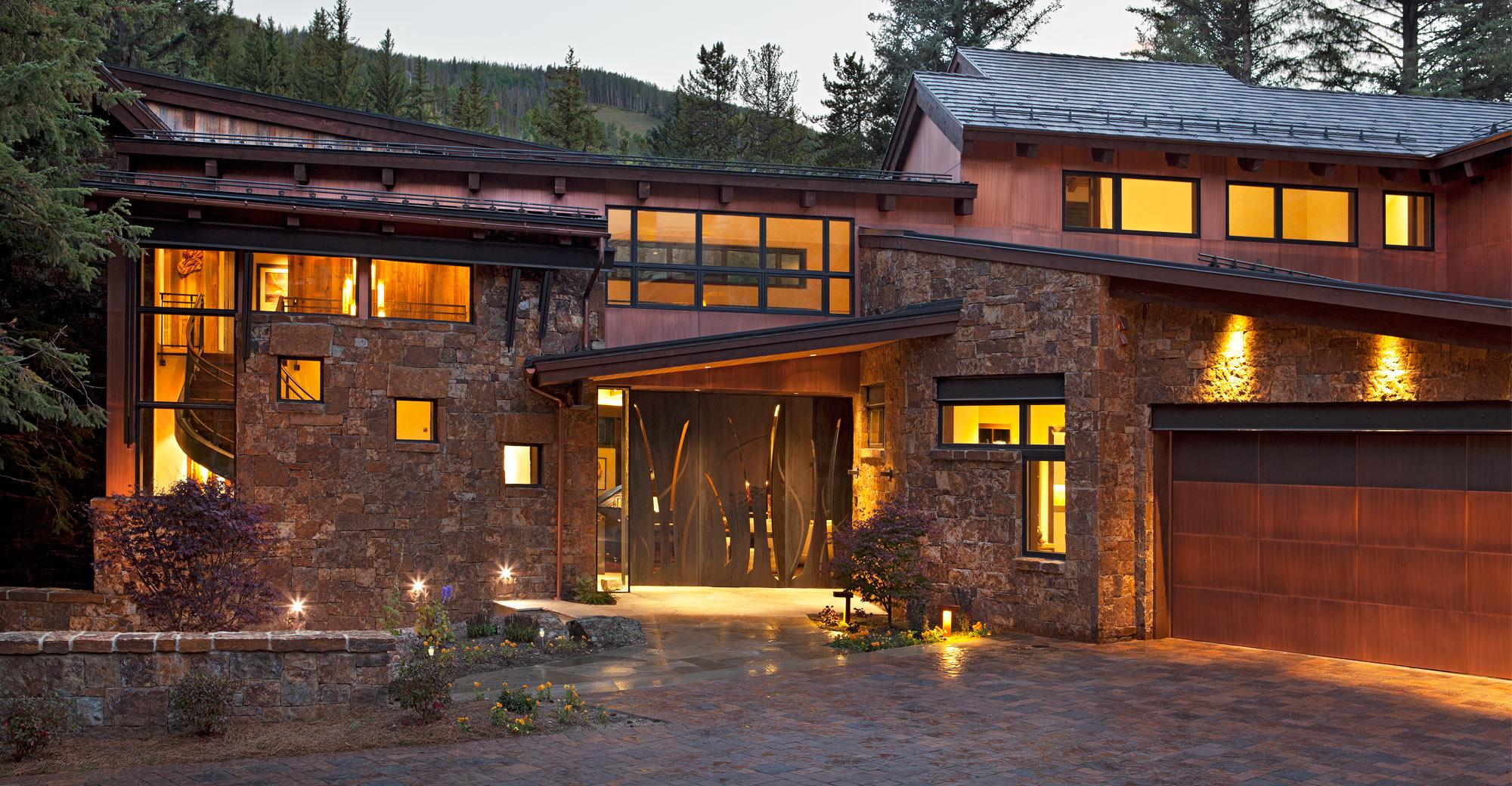 exterior-custom-entry-door-stone-copper-reclaimed-wood