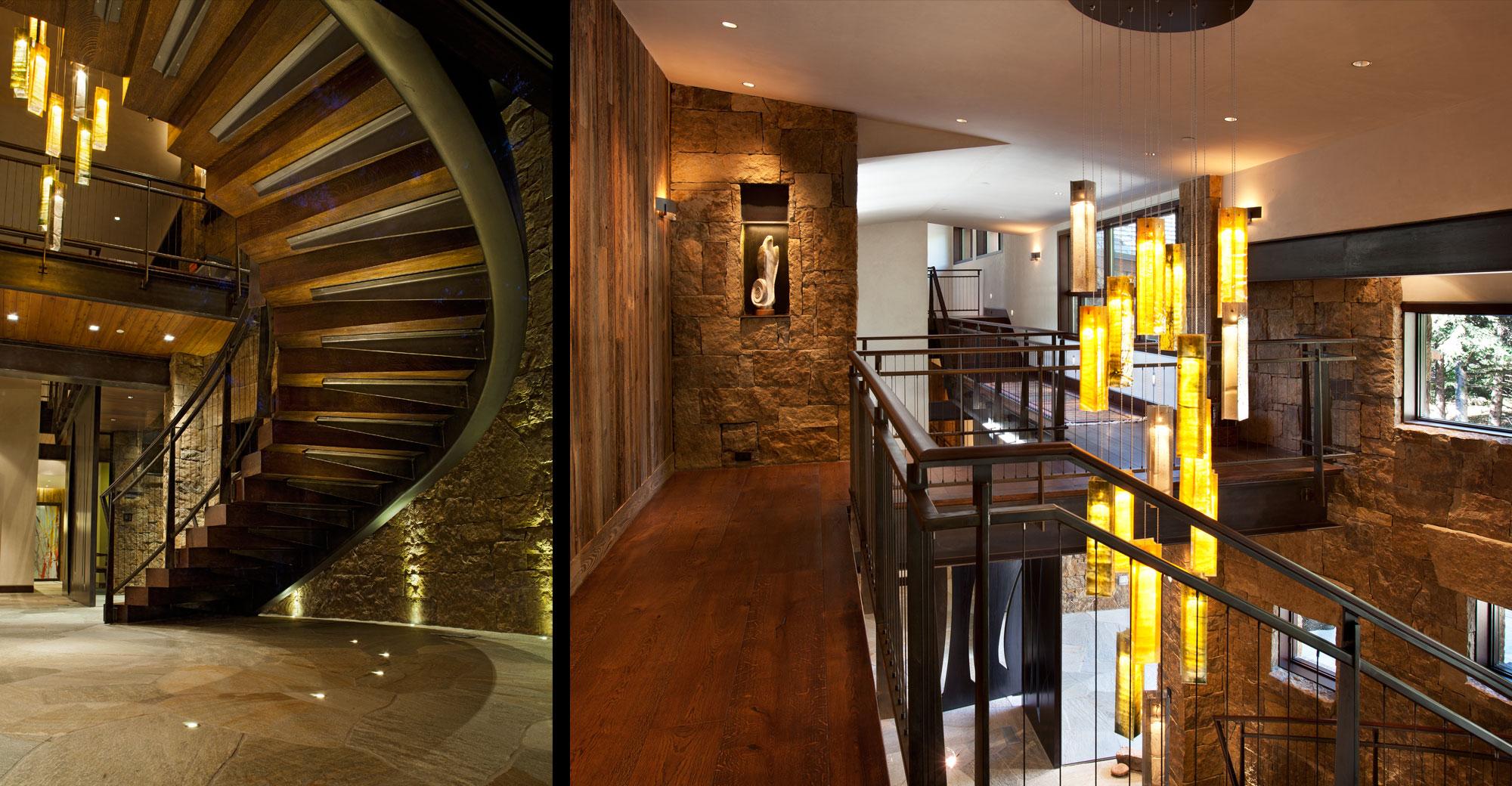 spiral stair chandelier stone veneer flagstone