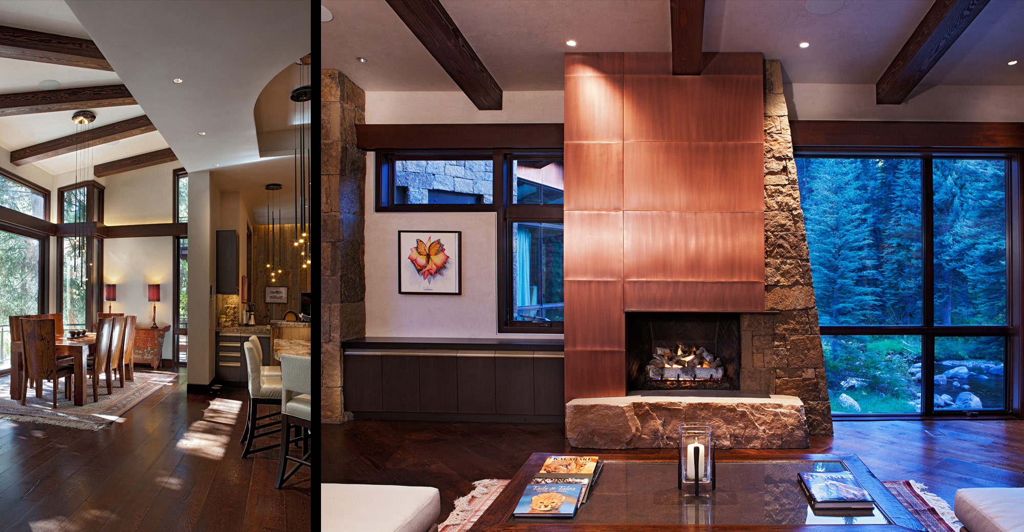 stone-copper-fireplace-dining-wood-beams
