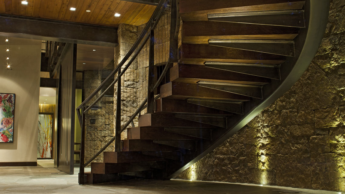 Meadow Creek custom built staircase Vail Colorado Homes