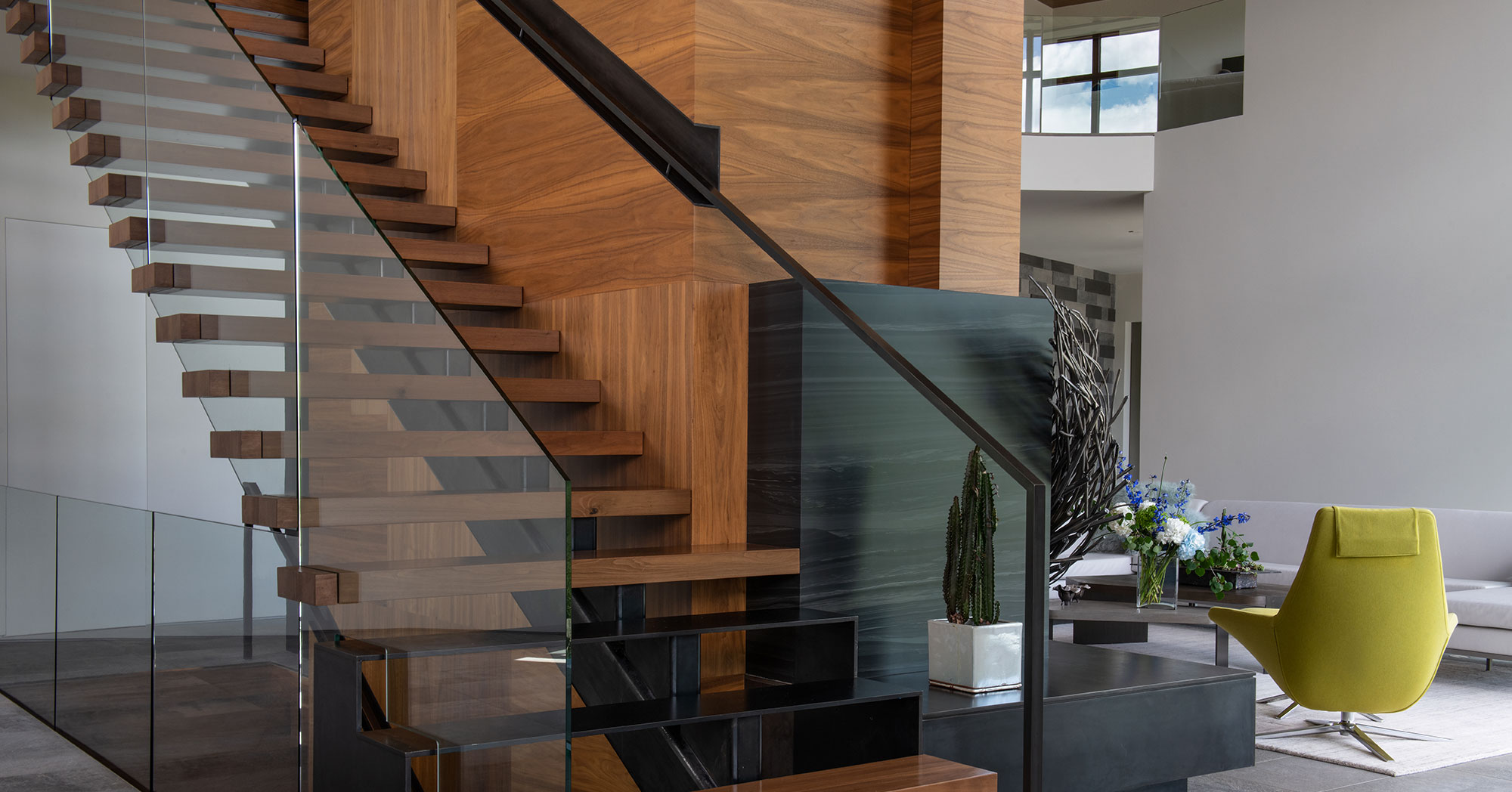 Floating Custom Staircase Vail Mountain Modern Home