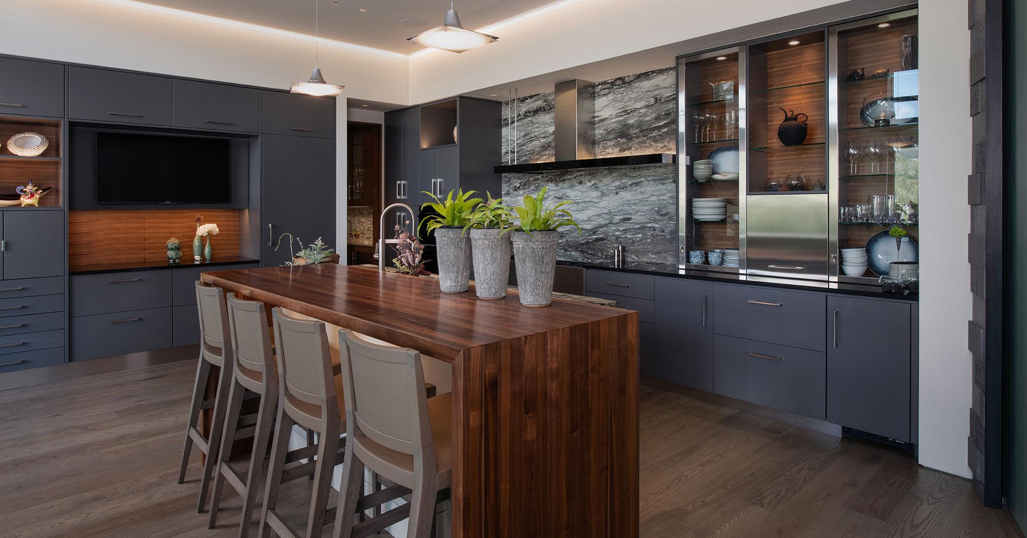 Modern Kitchen with Ski Mountain Views