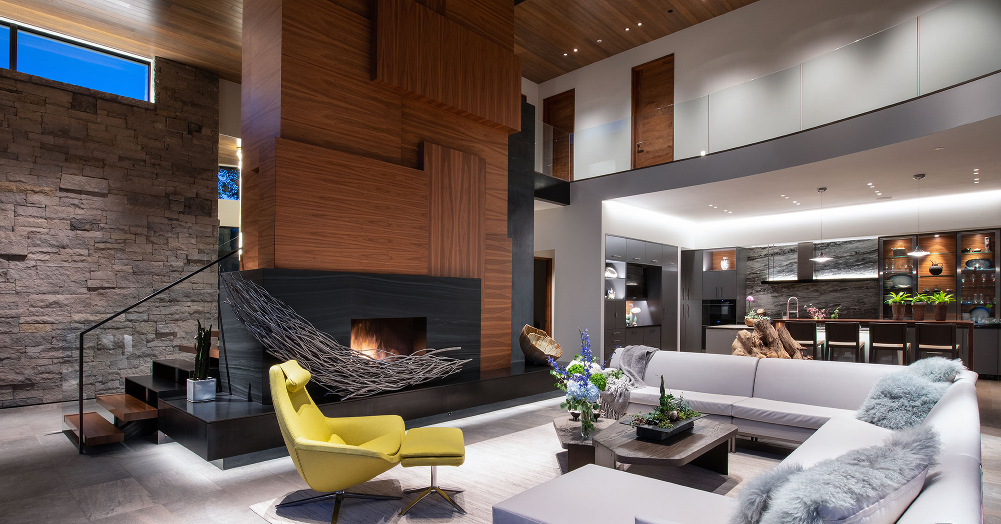 Living room views modern contemporary vail home construction