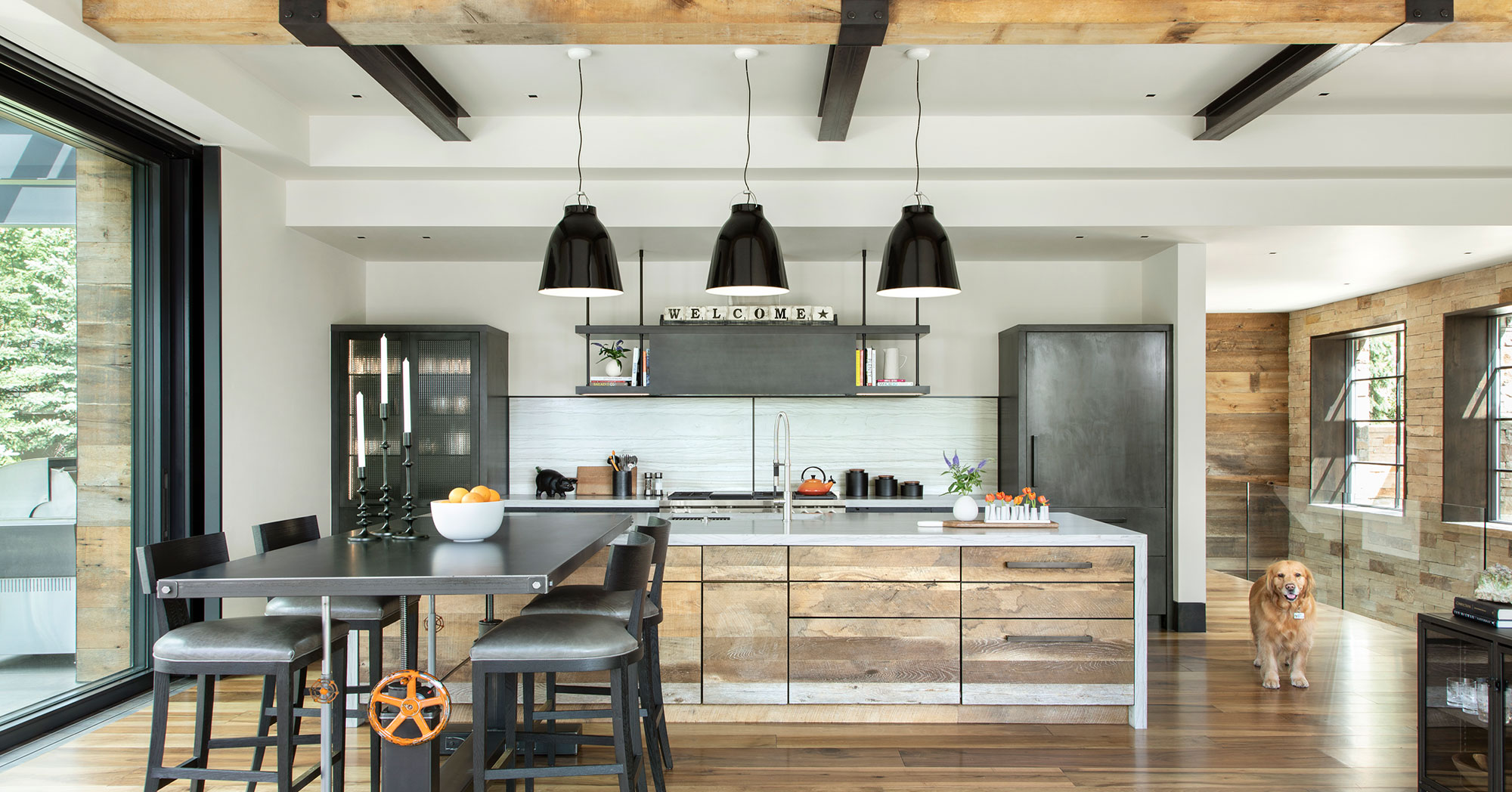 Custom Kitchen with Steal Beams Custom Woodwork Vail Homes